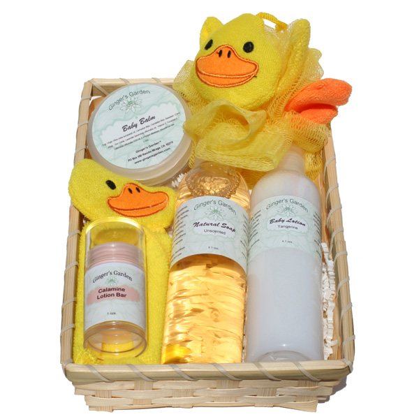 Welcome Home New Baby Ducky Gift Basket for a Boy or a Girl