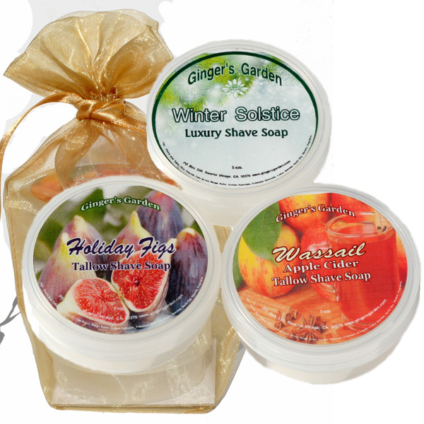 Shaving Soap Samples gift set, Winter Holiday Edition for Men